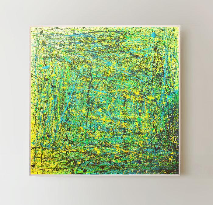 Tableau contemporain abstrait coloré Big Green Galaxy