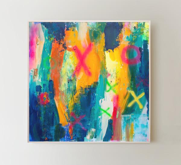 Tableau contemporain abstrait coloré Punch