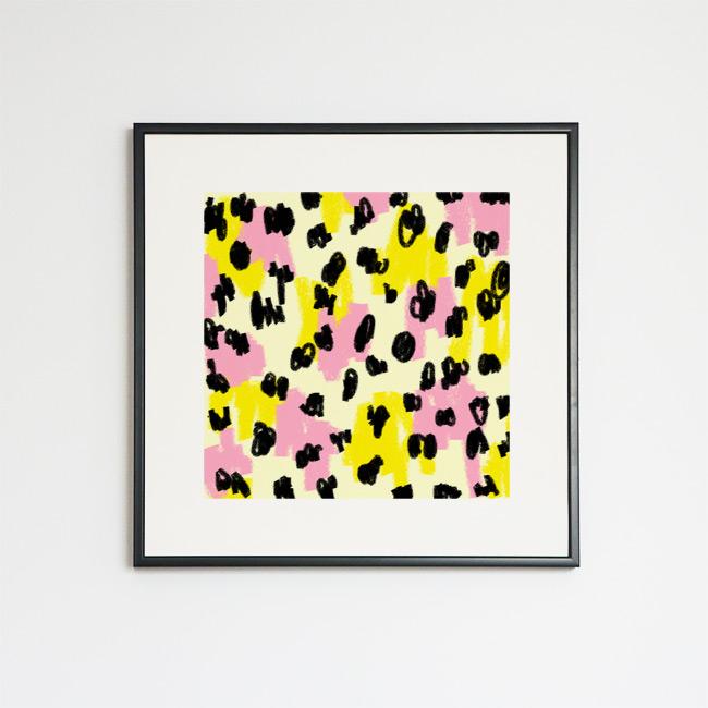 Tableau contemporain abstrait coloré Léopard jaune et rose