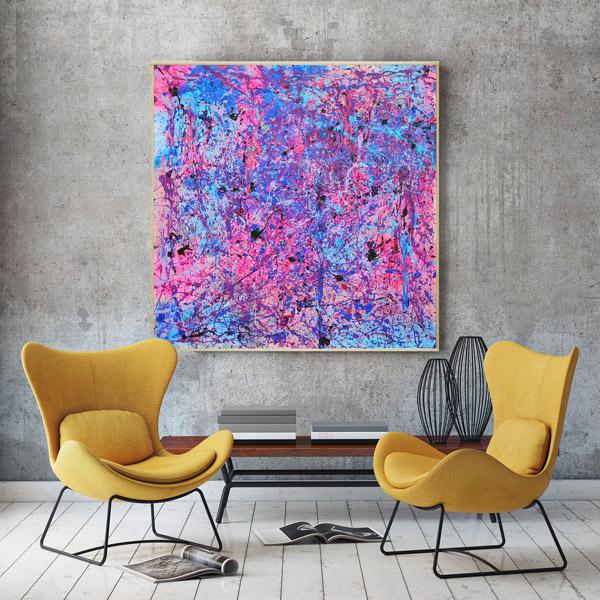 Tableau contemporain abstrait coloré Rose & Blue # 5