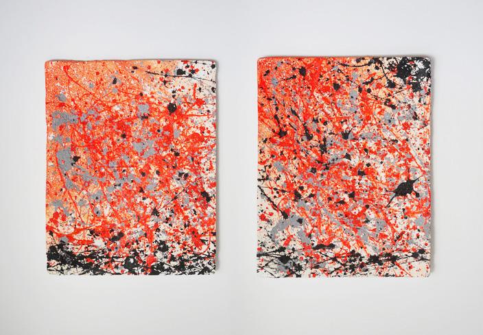 Tableau contemporain abstrait coloré Orange juice