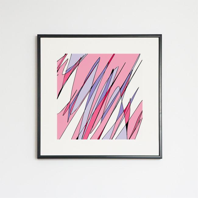 Tableau contemporain abstrait coloré Diagonales Lavande et Rose