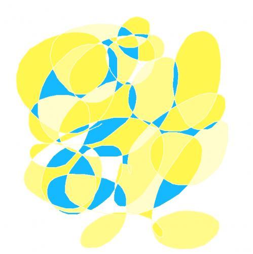 Tableau contemporain abstrait coloré Yellow and blue Swirl