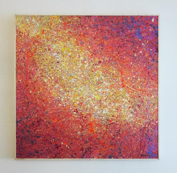 Tableau contemporain abstrait coloré Magma