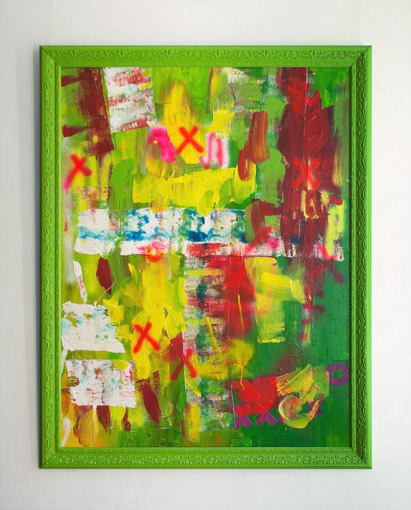 Tableau contemporain abstrait coloré XO Crew