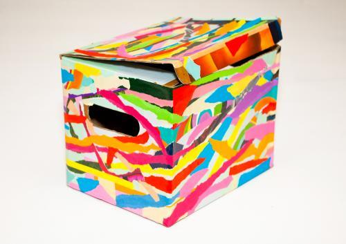 Tableau contemporain abstrait coloré Boîte à pixels 3