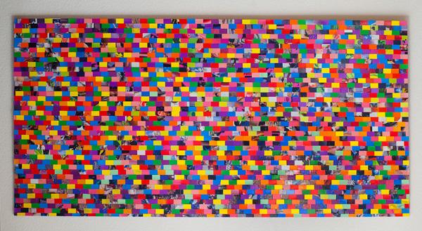 Tableau contemporain abstrait coloré 2091 Pixels