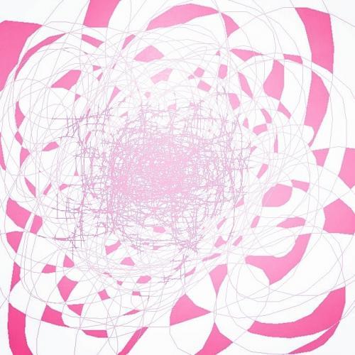 Tableau contemporain abstrait coloré Rose Rose