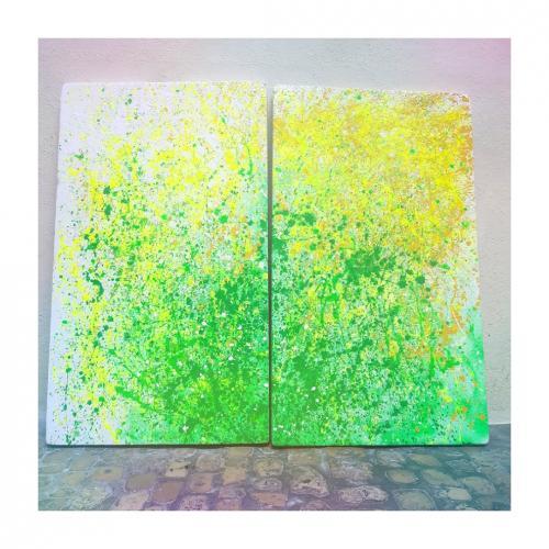Tableau contemporain abstrait coloré Springs