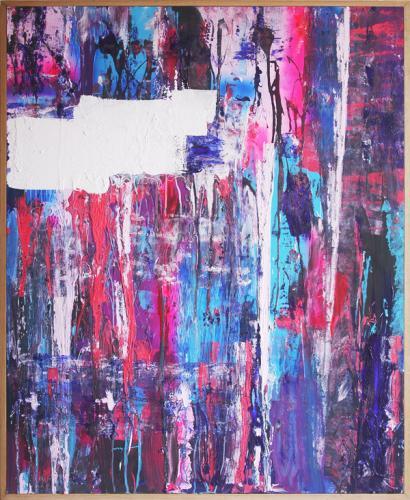 Tableau contemporain abstrait coloré Coulures XB