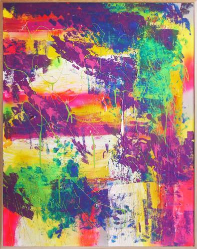 Tableau contemporain abstrait coloré Anja