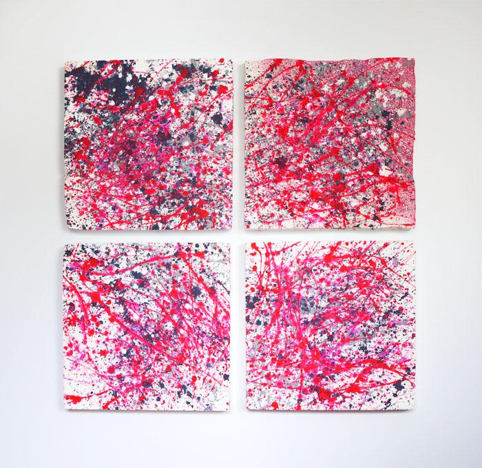 Tableau contemporain abstrait coloré Pink is the new black