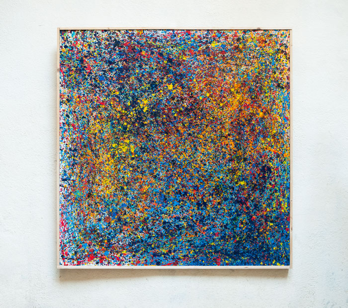 Tableau contemporain abstrait coloré Walk on the moon
