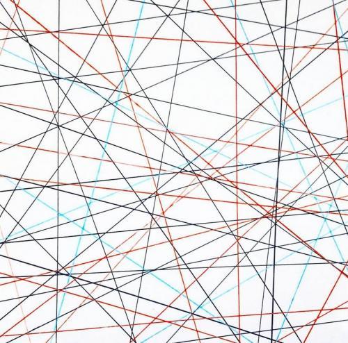 Tableau contemporain abstrait coloré Spider Web