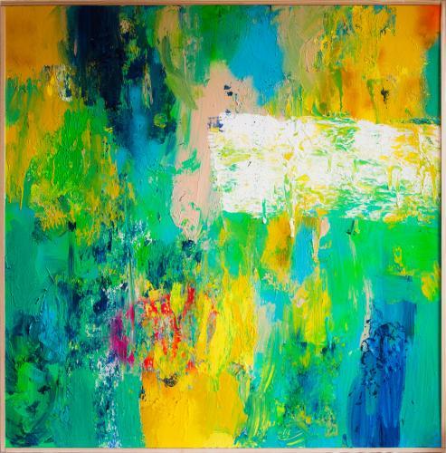 Tableau contemporain abstrait coloré L'inconnu du lac