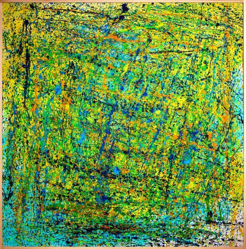 Tableau contemporain abstrait coloré Green Galax
