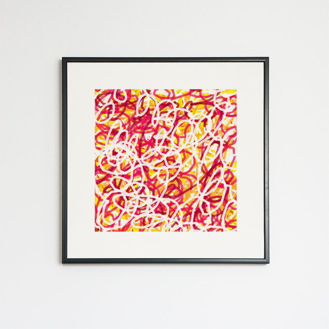 Tableau contemporain abstrait coloré Gribouilles C & B