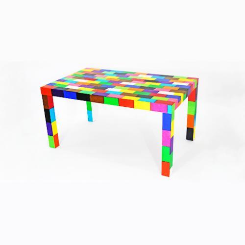 Tableau contemporain abstrait coloré Table à pixels