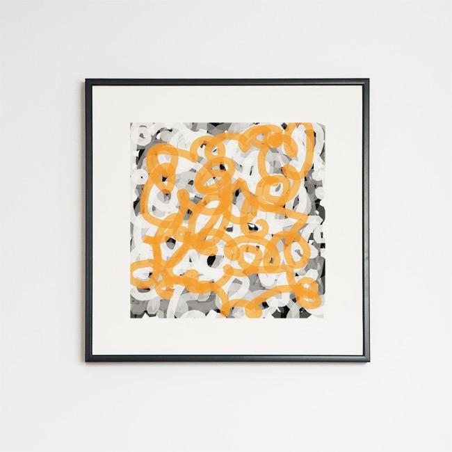Tableau contemporain abstrait coloré Tag gris et orange