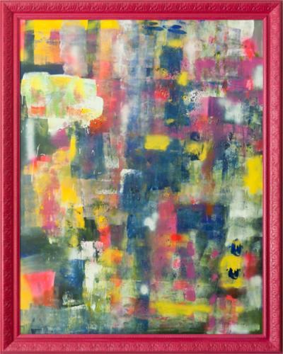 Tableau contemporain abstrait coloré Indy